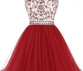 Red Jewel Neckline C..