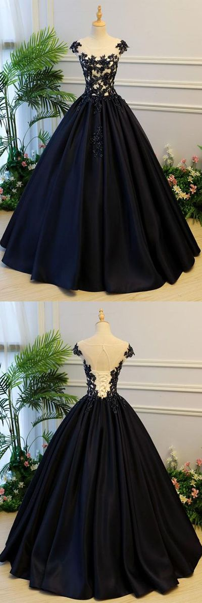 Generous A-Line Round Neck Cap Sleeves Lace-up Back Black Satin Long Prom/Evening Dress With Beading