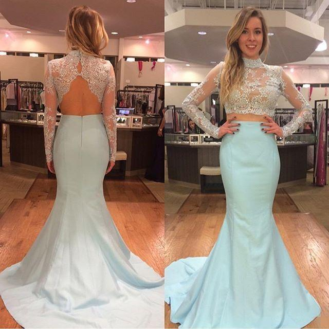Sheer High-Neck Lace Two-Piece Mermaid Long Prom Dress, Evening Dress with Long Sleeves and Open Back