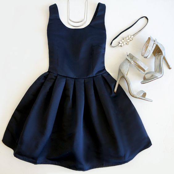 Charming Homecoming Dresses,Navy Blue Graduation Dresses,satin Homecoming Dress,Short/Mini Homecoming Dress