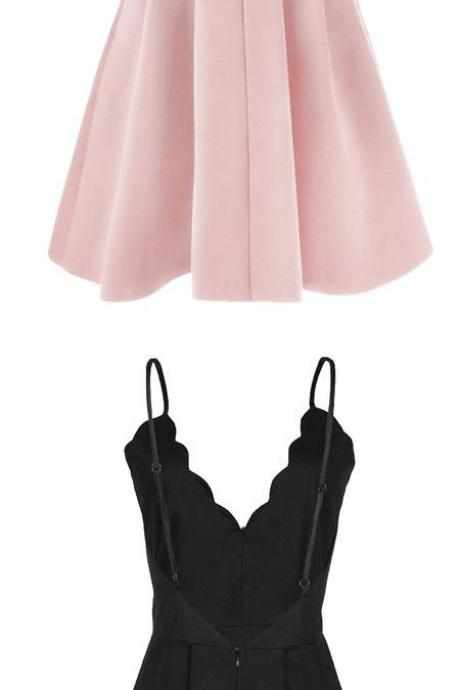 Custom Made Pink Scalloped V Neckline Cami Homecoming Dress