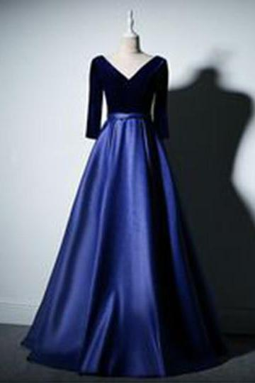Royal blue satin evening gowns,sexy ball gowns, custom made prom,new fashion,V neck party gowns,long velvet top evening dress with mid sleev