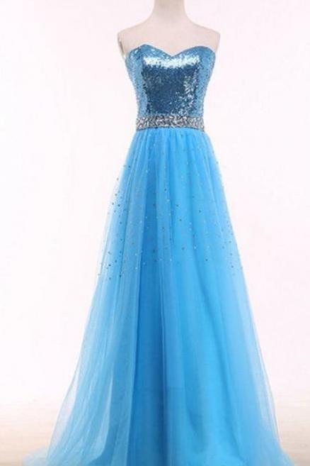 bright blue ball gown,floor length formal gown , crystal sex evening dresses,sweetheart neckline evening gowns,sexy ball gowns