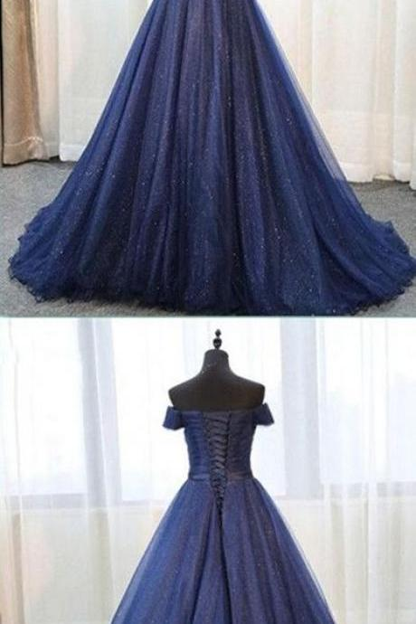 2019 Ball Gown Navy Blue Prom Dress, long prom dress, evening dress,Ball Gown,prom dresses