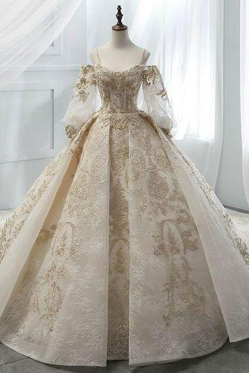 Ball Gown Champagne Tulle Gold Lace Appliques Ruff Sleeve Wedding Dress