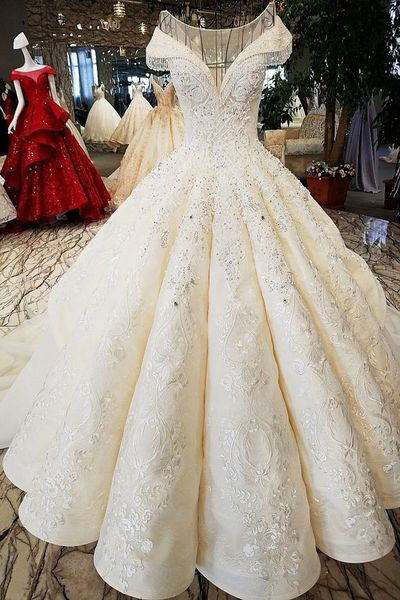 Sleeve Ball Gown Wedding Dresses | 2019 Lace Beadings Bridal Gowns