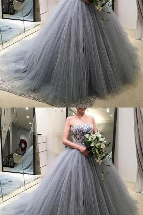 Lace Appliques Strapless Bodice Corset Tulle Ball Gowns Silver Wedding Dresses