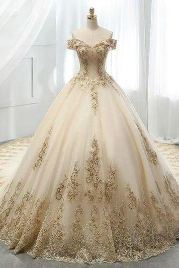 Ball Gown Off The Shoulder Long Sleeve Beading Appliques Weddign Dress