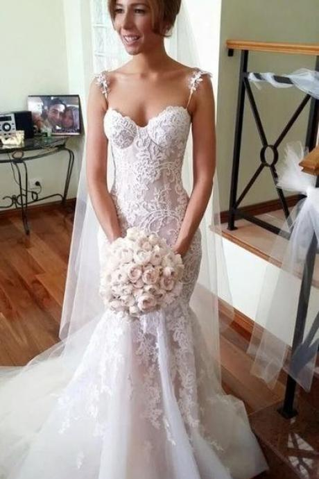 Mermaid Sweetheart Spaghetti Straps White and Pink Organza Wedding Dress with Lace
