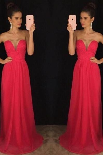 Red Prom Dress, Homecoming Dress Long, Back to Schoold Party Gown