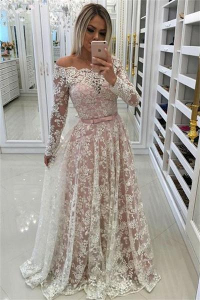 Ivory And Pink Long Lace A-line Elegant Prom Dresses With Sleeves