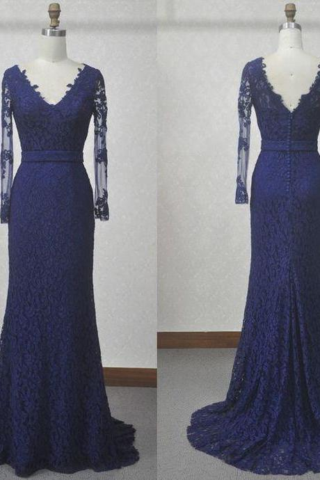 Cheap Prom Dresses, Evening Dress Prom Gowns, V-Neck Lace A-Line Prom Dresses