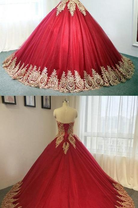 Gold Lace Embroidery Sweetheart Tulle Wedding Dresses Burgundy Ball Gowns For Bride