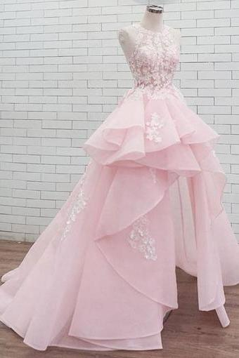 Pink round neck lace long prom dress, sweet dress