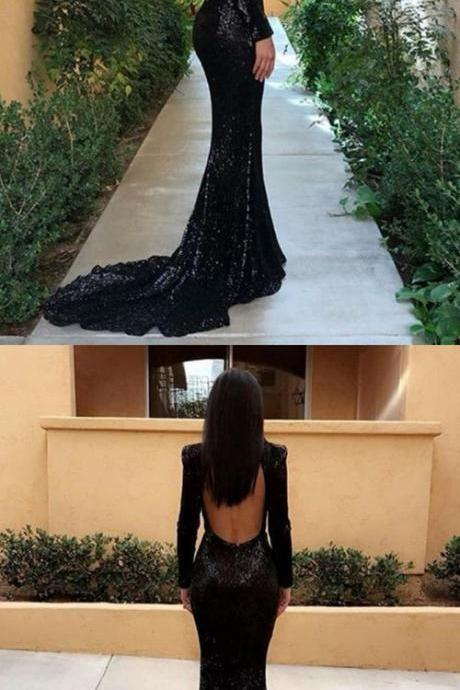 black sequined mermaid prom dresses, unique long sleeves sweep train party dresses
