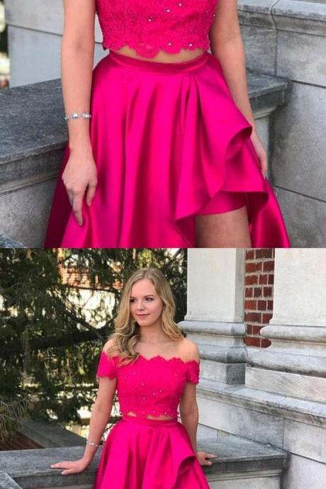 two piece hot pink long prom dress, off the shoulder hot pink long prom dress with side slits