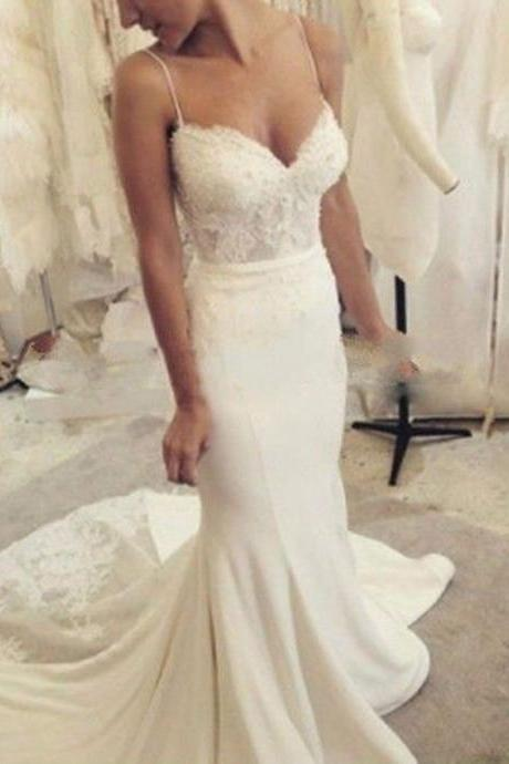 New Arrival White/ivory Lace Satin Spaghetti Straps Mermaid Wedding Dress Bridal Gown