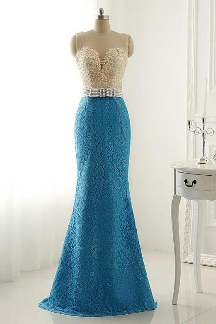 Sleeveless Sheer Beaded Lace Mermaid Long Prom Dress, Evening Dress