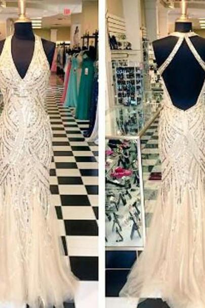 2017 Charming Prom Dress,New Prom Dresses ,Glitter Prom Dress,Halter Prom Dress,V-Neck Prom Dress,Mermaid Prom Dress