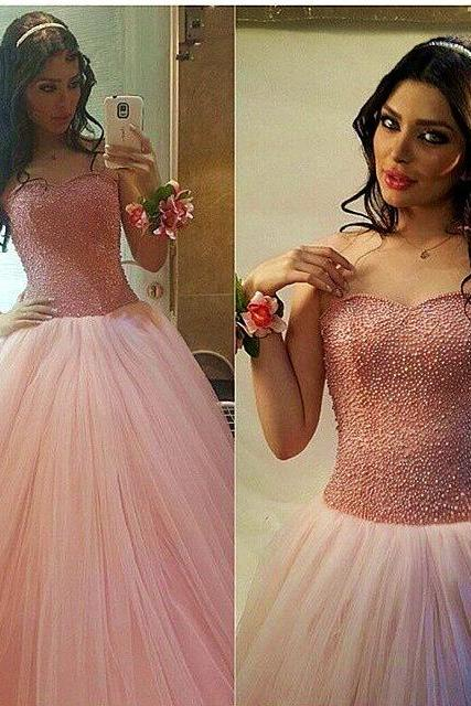 2017 new Charming Long Chiffon Prom Dress,Sweetheart Pearl Beading Puffy Princess Pageant Dresses Floor Length Tulle Ball Gown Prom Dresses