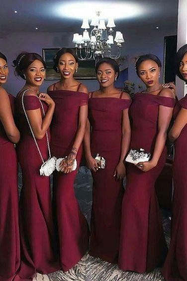 Dark Red Mermaid Bridesmaid Dresses,New Style Bridesmaid Dress,Simple Bridesmaid Dress,Long Bridesmaid Dress,Wedding Party Dress
