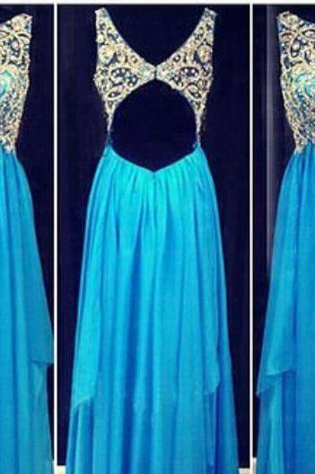 Elegant Prom Dresses, Sexy Backless Beaded Chiffon A line Prom Dress,Elegant Prom Dress,Crystals Round Neck Prom Dress ,Floor Length Graduation Dress,Formal Dress,Evening Dress On Sale ,Dress For Prom
