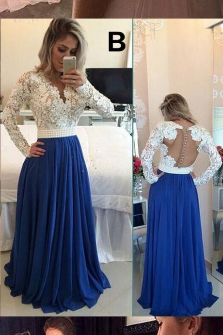 Lace and Chiffon Prom Dress, Long Sleeves Prom Dress, Long Prom Gowns, Prom Dress for Teens ,Hot Sale Prom Dresses 2016, Black Prom Dress, Pink Prom Dress, Royal Blue Prom Dress, Beading Prom Dresses