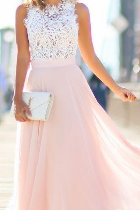 Elegant Prom Dresses,Cute White Mesh Top Pink Chiffon Prom Dress, Long Evening Dress 2016 ,Romantic Pink Mesh Round Neck Chiffon Long Prom Dresses,Women Dress
