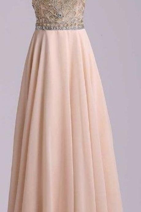 Charming Beading Long Prom Dress,Chiffon Prom Dress,Cap Sleeves Prom Dress,Formal Prom Dress,Long Prom Dress