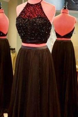 Charming Black Two Pieces Prom Dress,High Neck Prom Dress,Two Pieces Prom Dress,Prom Gowns for Teens,Beadings Prom Party Dresses,A Line Sweep Train Evening Dress