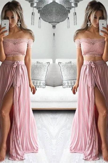 Charming Two Pieces Prom Dress,High Neck Prom Dress,Two Pieces Prom Dress,Prom Gowns for Teens,Prom Party Dresses,Lace Evening Dress