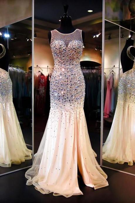 Charming Prom Dress,Open Backs Prom Dress,backless Prom Dress,Prom Gowns for Teens,Beadings Prom Party Dresses,Mermaid Sweep Train Evening Dress