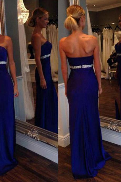 New Arrival Women Dress,royal blue Prom Dress,chiffon Prom Dress,Long Prom Dress,Evening Dress,a line Prom Evening Gowns,Party Dress