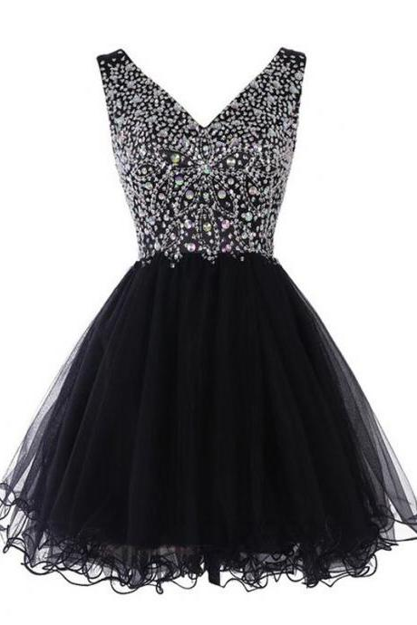 Sleeveless Plunge V Beaded Short Tulle Homecoming Dress - Party Dress