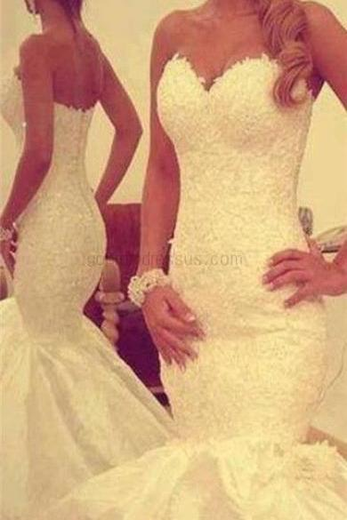 New Arrival White Lace Satin Strapless Mermaid Wedding Dress Bridal Gown
