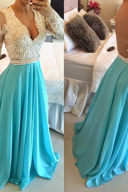 Simple Floor-length Bridesmaid/Prom Dresses,Prom Dresses,blue prom gowns,evening gowns,Long sleeves evening gowns