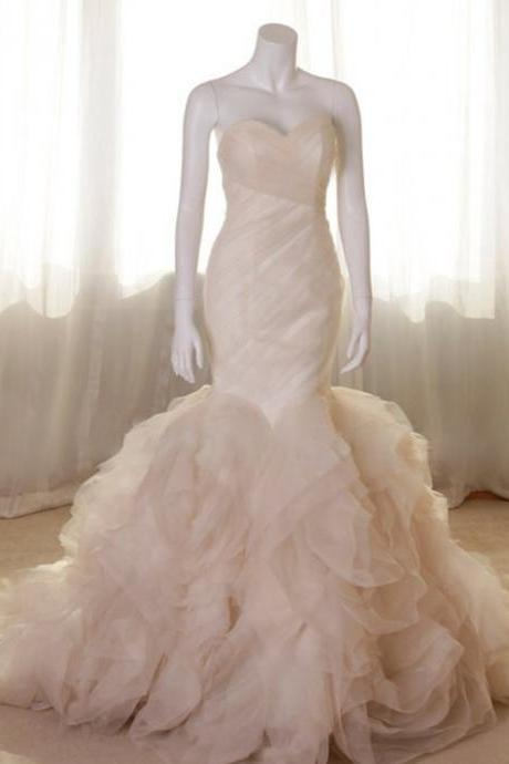 Strapless Sweetheart Ruched Ruffle Mermaid Wedding Dress