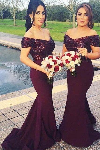 Custom Made Off-Shoulder Burgundy Mermaid Bridesmaid Dress with Sequins, Prom Dress
