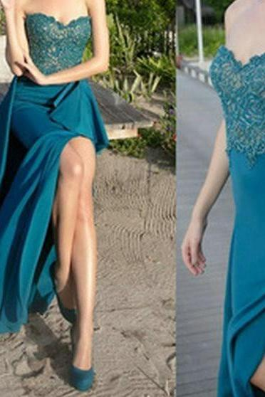 new fashion Prom Dresses,Prom Dresses,Charming Prom Dress,Sexy Prom Dress,slit Prom Dress,Long Evening Dress,lace Formal Gown