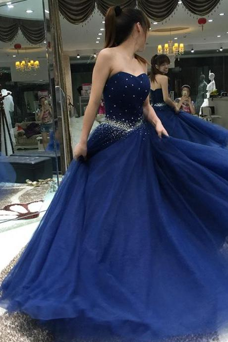 Prom Dress,Sexy Prom Dress,Elegant Navy Blue A Line Prom Dresses With Crystals Rhinestone Long Tulle Lace Up Pageant Dress Women Party Gowns