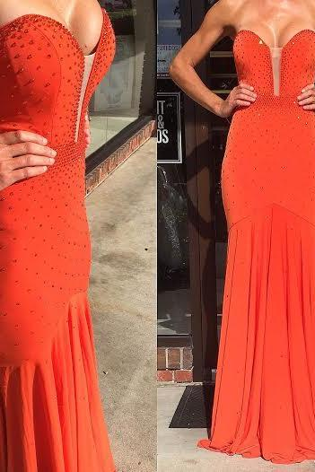 Simple Prom Dresses,Prom Dresses,Mermaid Long Evening Dresses Red Backless Sweep Train Beading Sweetheart Formal Dresses Prom Party Gowns