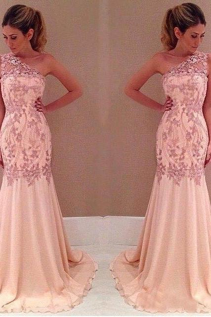Chiffon One-Shoulder Sexy Mermaid Applique Evening Dresses Prom Gown Pink Long Party Dress Formal Gowns