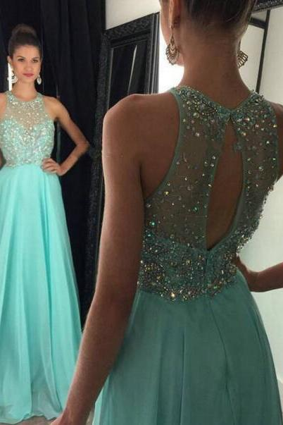 New Arrival Luxury Crystal and Beading Prom Dress,Long Prom Dress,Evening Dress,blue Evening Gown