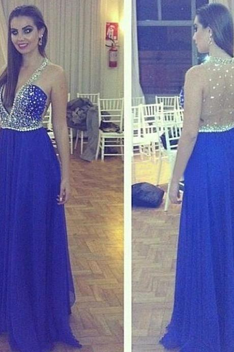 New Arrival Luxury Royal Blue Prom Dress,Long Prom Dress,Evening Dress,royal blue Evening Gown