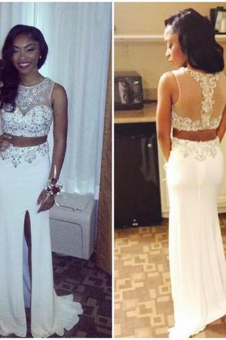 prom dresses,white evening gowns,2 pieces prom gowns, 2017 evening dress