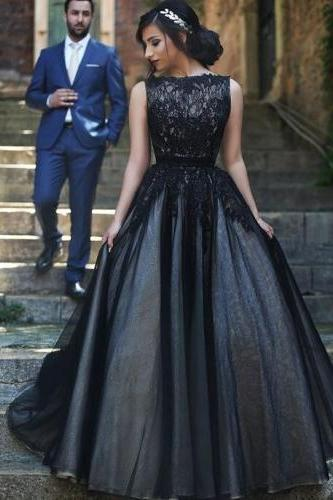 prom dresses,black evening gowns,ball gown prom gowns, lace evening dress