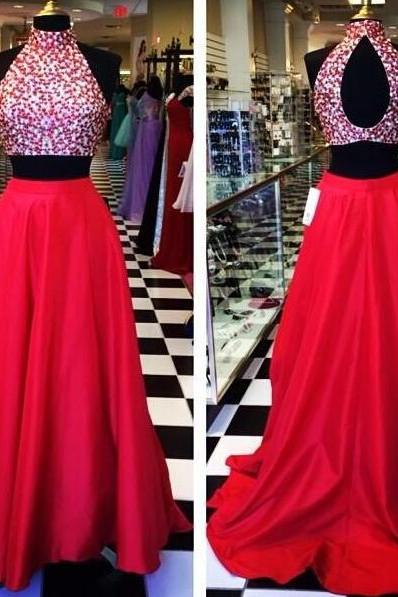prom dresses,2 pieces evening gowns,red prom gowns, 2017 evening dress