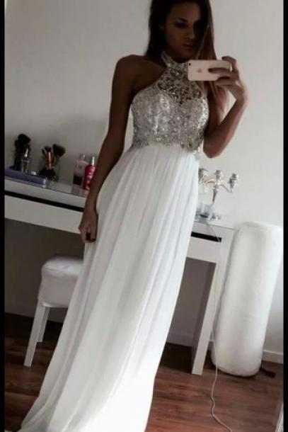 prom dresses,chiffon evening gowns,beaded prom gowns, white evening dress