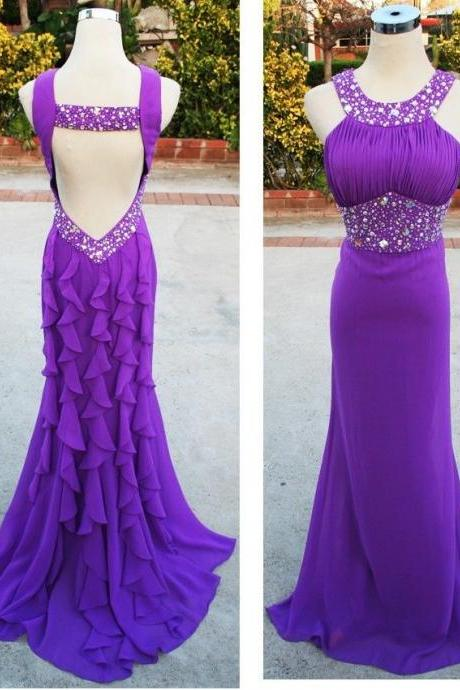Sexy Prom Dress,Prom Dresses,New Arrival Purple Chiffon Prom Dresses Backless Mermaid Evening Dress