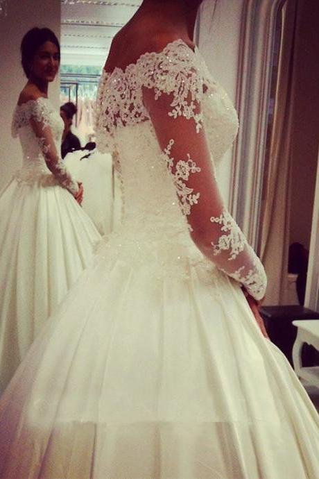 Wedding Dresses,Elegant Wedding Dresses,illusion Lace Wedding Dresses With Long Sleeve Sheath Sexy Sweep Train Appliques Bridal Gowns